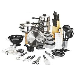 80 Piece Cookware Pots And Pans Kitchen Starter Combo