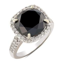 Heart-stopping 7.38cts. Black Diamond Ring