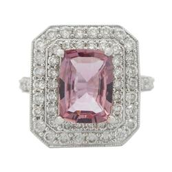 Gorgeous Pink Sapphire & Diamond Ring in 18KT Gold