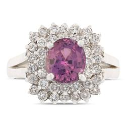 Striking Pink Sapphire Ring in 14kt White Gold