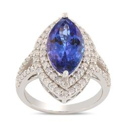 Stunning Tanzanite & Diamond Ring in 14KT Gold