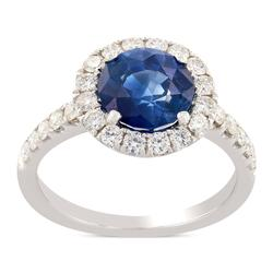 18KT White Gold Blue Sapphire Diamond Engagement Ring