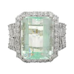 Vintage inspired Aquamarine and Diamond Ring