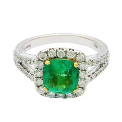18kt White Gold Emerald & Diamond Cocktail Ring