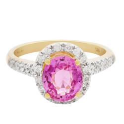 Beautiful 14KT Gold Pink Sapphire & Diamond Ring