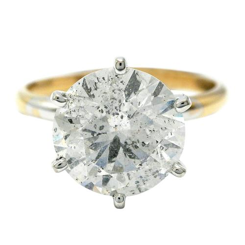 14kt Yellow Gold Huge Diamond Solitaire Ring