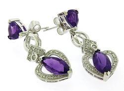 Amethyst & White Topaz Dangle Earrings in Sterling Silver