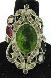 Sterling Silver Peridot, Tourmaline & Diamond Cocktail Ring