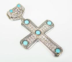 Charming Classical Design Rhodium Plated 925 S. Cross