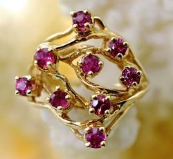 Free Form 14K Ruby Cluster Ring