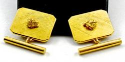 Textured 14K Gold Cufflinks with Nuggets