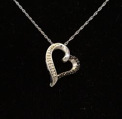 Black Diamond Heart Pendant on White Gold Chain