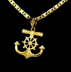 Stunning Gold Anchor Pendant on 22.5in Mariner Link Chain