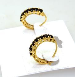 Facet-Cut Black Onyx & Gold Hoop Earrings