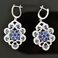 Sterling Silver Tanzanite & Diamond Dangle Earrings
