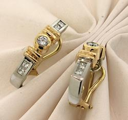Dazzling Two Tone Diamond J Hoop Earrings