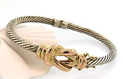Very Nice Two Tone Knoted Cable Bracelet