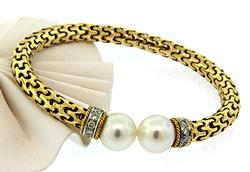 Irresistible Cuff Bracelet with Pearls & Diamonds, 18K