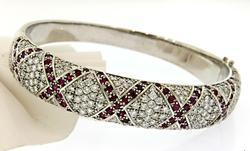 Absolutely Stunning Ruby & Diamond Bangle, 18K