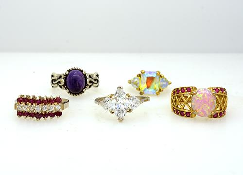 Lot of Five Rings, Red Topaz, Brilliant CZ, etc