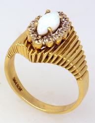 Vintage Opal Ring in Gold with Diamond Accents, Size 5.75