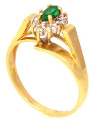Bright Emerald Ring with Diamond Accents in Gold, Size 6.25