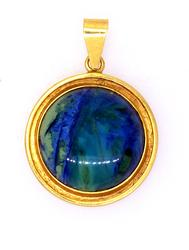 Blue Cabochon Pendant in Gold