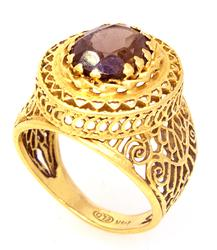 Intricate Smoky Quartz Ring in Gold, Size 5.75