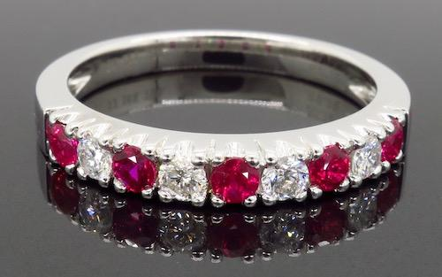 18K White Gold Ruby and Diamond Band