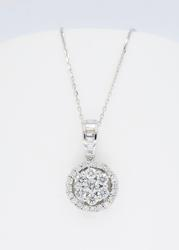 18K White Gold Cluster Diamond Necklace