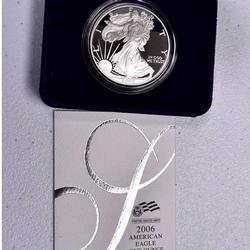 2006 Proof Silver American Eagle, Gov Box and Papers