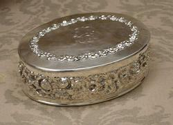 American  Sterling Silver Floral  Repousse Oval Box