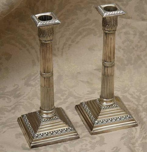 Pair of Walker and Hall  Heavy  Silverplate Corinthian Style Candlesticks