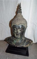Exquisite Bronze Buddha Bust - Museum Mounted