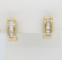 14K Yellow Gold .50ctw Vertical Diamond Earrings