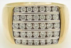 14kt Gold Men's 5 Row Diamond Ring!