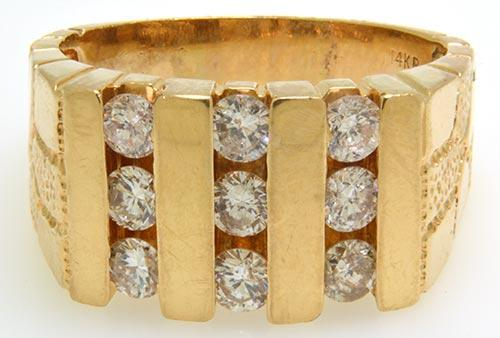 Men's 14KT Yellow Gold Three Row Diamond Channel Ring