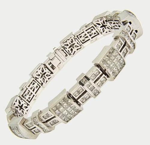 Men's 18kt Solid White Gold 12+ CTW Diamond Bracelet