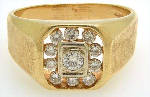 14kt Solid Gold Gent's Diamond Ring- Size 13.5
