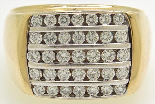 14kt Gold Men's 5 Row Diamond Ring!