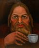Oil on board Portrait of  a man enjoying  his tea 1986