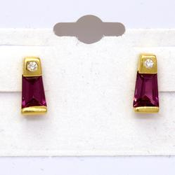 Beautiful Pink Garnet & Diamond Accent Post Earrings