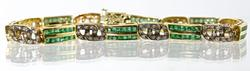 Contemporary Emerald & Diamond 14K Bracelet