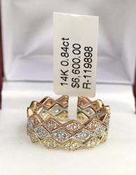Set of 3 14kt Tri-Colored Gold Diamond Bands!