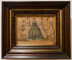Vintage Victorian Walnut Framed Fashion Engraving