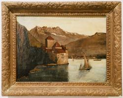 Vintage European Lake Scene Oil on Canvas