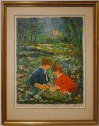 Beautiful lithograph in color of two children playing