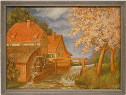 P high Mill In Spring Color Lithograph