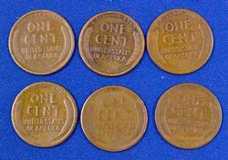 San Fran Early Wheat Cent Lot, 6 Coins