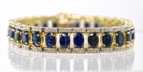 Impressive Sapphire & Diamond 14K Bracelet